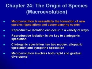 Chapter 24 The Origin of Species Macroevolution l