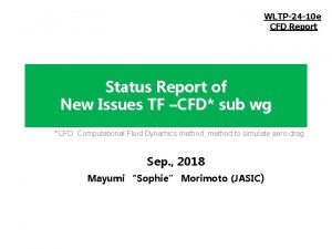 WLTP24 10 e CFD Report Status Report of