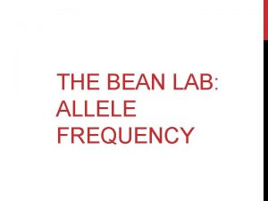 THE BEAN LAB ALLELE FREQUENCY THE BEAN ALLELE