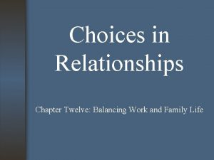 Choices in Relationships Chapter Twelve Balancing Work and