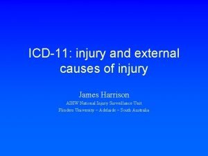 ICD11 injury and external causes of injury James