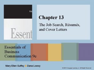 Chapter 13 The Job Search Rsums and Cover