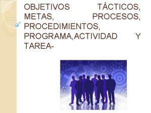 OBJETIVOS TCTICOS METAS PROCESOS PROCEDIMIENTOS PROGRAMA ACTIVIDAD Y
