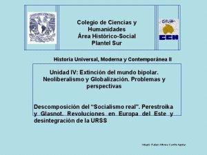 Colegio de Ciencias y Humanidades rea HistricoSocial Plantel
