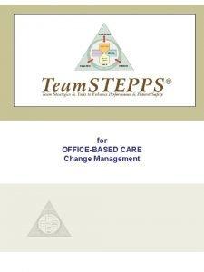 for OFFICEBASED CARE Change Management INTRODUCTION Change Management