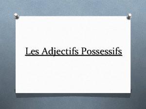 Les Adjectifs Possessifs Caractristiques O Ladjectif possessif apporte