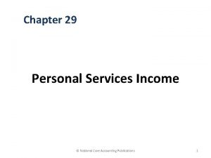 Chapter 29 Personal Services Income National Core Accounting