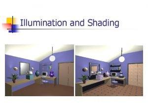 Illumination and Shading Illumination Lighting n n Model