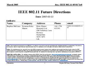 March 2005 doc IEEE 802 11 050171 r