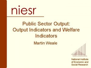 Public Sector Output Output Indicators and Welfare Indicators