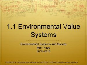 1 1 Environmental Value Systems Environmental Systems and