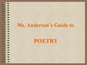 Ms Andersons Guide to POETRY Poetry Acrostic Haiku