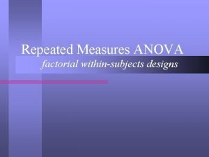 Repeated Measures ANOVA factorial withinsubjects designs OneWay Repeated