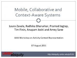 Mobile Collaborative and ContextAware Systems Laura Zavala Radhika