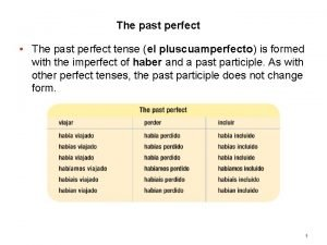 8 1 The past perfect The past perfect
