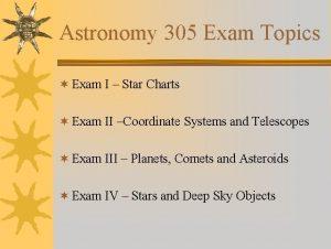Astronomy 305 Exam Topics Exam I Star Charts
