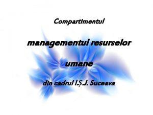Compartimentul managementul resurselor umane din cadrul I J