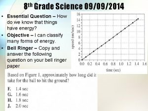 8 th Grade Science 09092014 Essential Question How