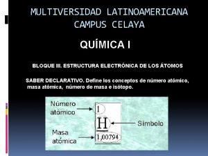 MULTIVERSIDAD LATINOAMERICANA CAMPUS CELAYA QUMICA I BLOQUE III