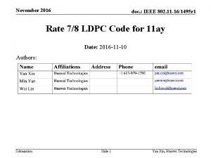 November 2016 doc IEEE 802 11 161495 r