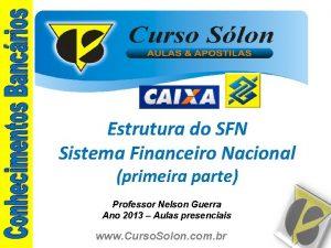 Estrutura do SFN Sistema Financeiro Nacional primeira parte