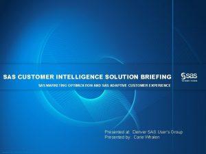 SAS CUSTOMER INTELLIGENCE SOLUTION BRIEFING SAS MARKETING OPTIMIZATION