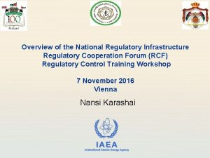 Overview of the National Regulatory Infrastructure Regulatory Cooperation