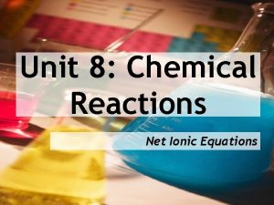 Unit 8 Chemical Reactions Net Ionic Equations Recall