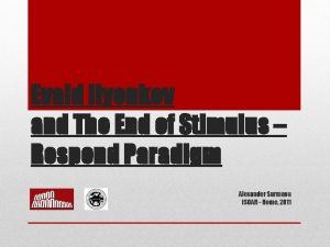 Evald Ilyenkov and The End of Stimulus Respond