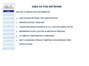 IDEA OF THE NETWORK Idea WE ARE TO