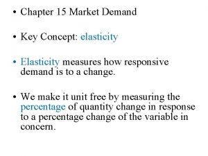 Chapter 15 Market Demand Key Concept elasticity Elasticity