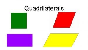Quadrilaterals What do these shapes have in common
