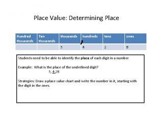 Place Value Determining Place Hundred thousands Ten thousands