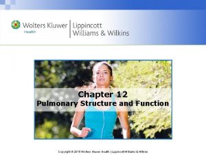 Chapter 12 Pulmonary Structure and Function Copyright 2015