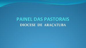 PAINEL DAS PASTORAIS DIOCESE DE ARAATUBA DIOCESE DE