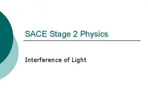 SACE Stage 2 Physics Interference of Light Diffraction