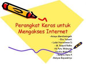 Perangkat Keras untuk Mengakses Internet Anisya Merdianingsih Eka