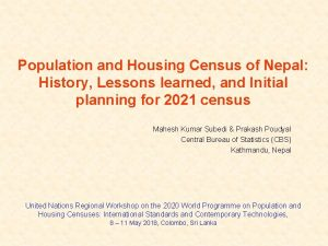 Population and Housing Census of Nepal History Lessons