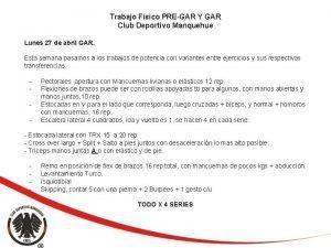 Trabajo Fsico PREGAR Y GAR Club Deportivo Manquehue