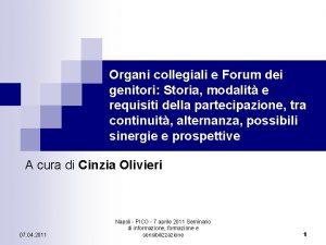 Organi collegiali e Forum dei genitori Storia modalit
