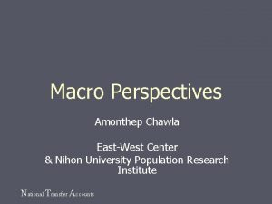 Macro Perspectives Amonthep Chawla EastWest Center Nihon University