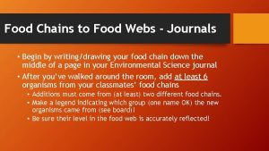 Food Chains to Food Webs Journals Begin by