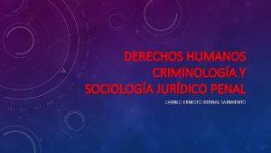 DERECHOS HUMANOS CRIMINOLOGA Y SOCIOLOGA JURDICO PENAL CAMILO
