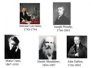 Antoine Lavoisier 1743 1794 Marie Curie 1867 1934
