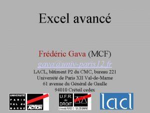 Excel avanc Frdric Gava MCF gavaunivparis 12 fr