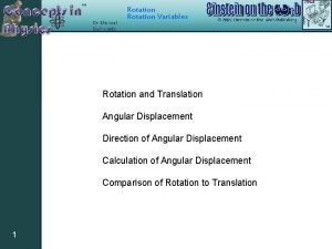 Rotation Variables Rotation and Translation Angular Displacement Direction