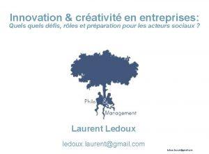 Innovation crativit en entreprises Quels quels dfis rles