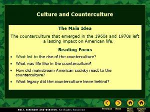 Culture and Counterculture The Main Idea The counterculture