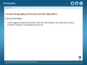 Geography Chapter 16 Human Geography of Russia and
