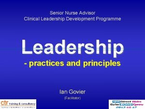 Senior Nurse Advisor Clinical Leadership Development Programme Leadership